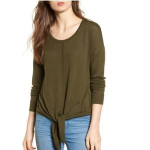 Madewell Green Tie Front Sweater